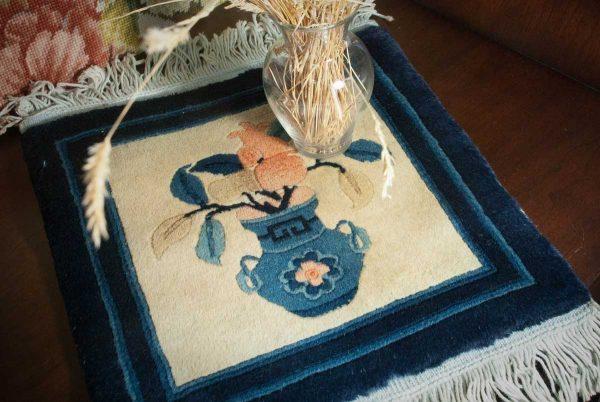 1x1 peking ivory oriental mini rug 018123