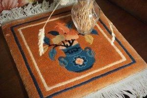 1×1 Vintage Peking Oriental Rust Hand-Knotted Mini Rug