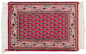 1×2 Vintage Persian Oriental Rose Hand-Knotted Rug