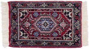 1×2 Bijar Oriental Red Hand-Knotted Rug