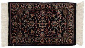 1×2 Tabriz Oriental Black Hand-Knotted Rug