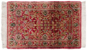 1×2 Tabriz Oriental Red Hand-Knotted Rug