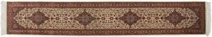 2×12 Kashan Oriental Ivory Hand-Knotted Rug Runner