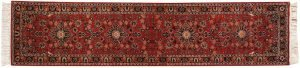 2×12 Kashan Oriental Red Hand-Knotted Rug Runner