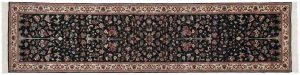 2×12 Persian Oriental Black Hand-Knotted Rug Runner