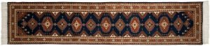 2×12 Vintage Salore Oriental Blue Hand-Knotted Rug Runner