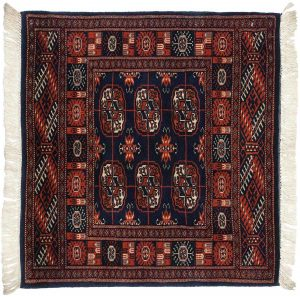 2×2 Vintage Bokhara Oriental Blue Hand-Knotted Square Rug