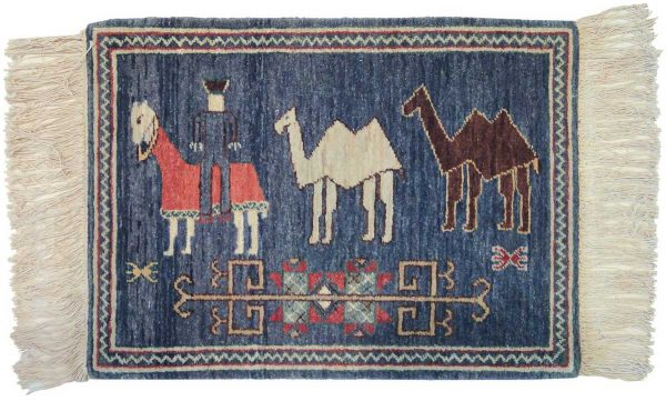 2x2 camels blue oriental rug 020408