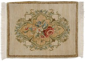 2×2 European Oriental Ivory Hand-Knotted Rug
