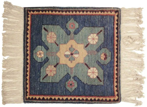 2x2 flower blue oriental square rug 020395