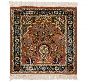 2×2 Vintage Kashmir Oriental Rose Hand-Knotted Rug