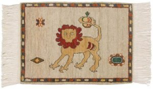 2×2 Persian Oriental Green Hand-Knotted Rug