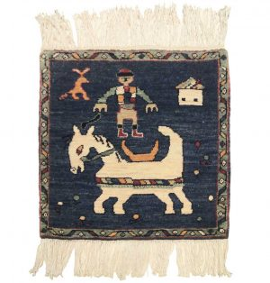 2×2 Karabagh Oriental Blue Hand-Knotted Square Rug