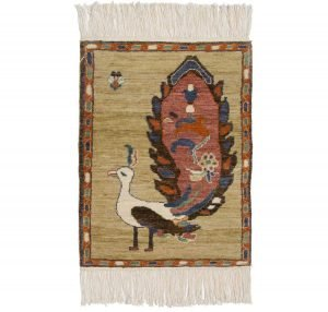 2×2 Folk Art Oriental Yellow Hand-Knotted Rug