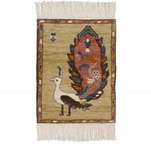 2×2 Folk Art Oriental Yellow Hand-Knotted Rug