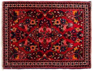 2×2 Persian Sarouk Oriental Red Hand-Knotted Square Rug