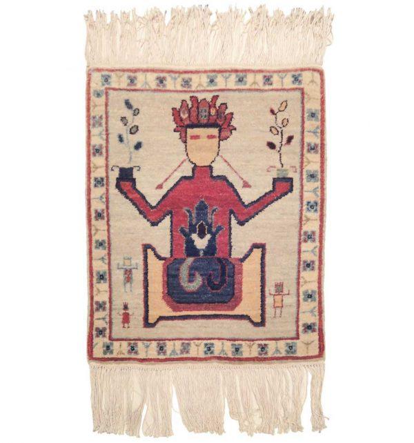 2x2 sitting man ivory oriental square rug 020340