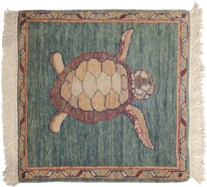 2×2 Folk Art Oriental Green Hand-Knotted Square Rug
