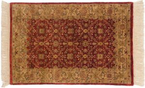 2×3 Agra Oriental Burgundy Hand-Knotted Rug
