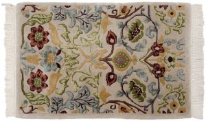 2×3 Vintage William Morris Oriental Beige Hand-Knotted Rug