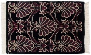 2×3 Vintage Arts & Crafts Oriental Black Hand-Knotted Rug