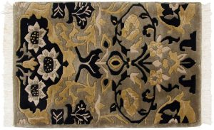 2×3 Vintage William Morris Oriental Green Hand-Knotted Rug