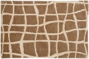 2×3 Grid Oriental Beige Hand-Knotted Rug