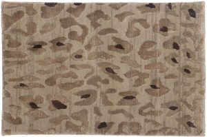 2×3 Leopard Oriental Beige Hand-Knotted Rug
