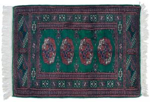 2×3 Vintage Bokhara Oriental Green Hand-Knotted Rug