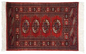 2×3 Vintage Bokhara Oriental Red Hand-Knotted Rug