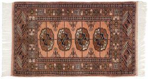 2×3 Vintage Bokhara Oriental Rose Hand-Knotted Rug