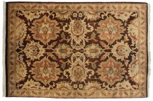 2×3 Agra Oriental Brown Hand-Knotted Rug