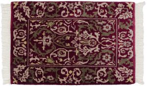 2×3 Vintage William Morris Oriental Burgundy Hand-Knotted Rug