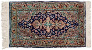2×3 Caesaria Oriental Blue Hand-Knotted Rug