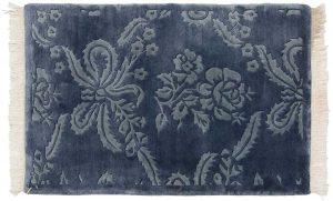 2×3 Vintage Damask Oriental Blue Hand-Knotted Rug
