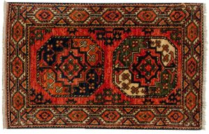 2×3 Ersari Oriental Rust Hand-Knotted Rug