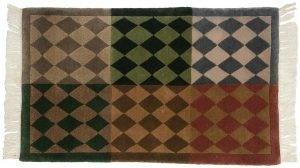 2×3 Vintage Modern Oriental Multi Color Hand-Knotted Rug