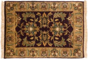 2×3 Jaipur Oriental Burgundy Hand-Knotted Rug
