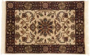 2×3 Jaipur Oriental Ivory Hand-Knotted Rug