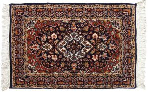 2×3 Kashan Oriental Blue Hand-Knotted Rug