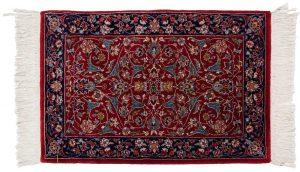 2×3 Vintage Kashan Oriental Red Hand-Knotted Rug