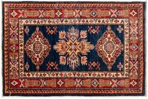 2×3 Kazak Oriental Blue Hand-Knotted Rug