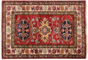 2×3 Kazak Oriental Red Hand-Knotted Rug