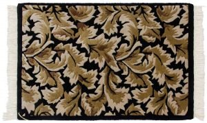 2×3 Vintage Leaf Oriental Black Hand-Knotted Rug