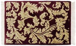 2×3 Vintage Leaf Oriental Burgundy Hand-Knotted Rug