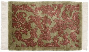 2×3 Leaf Oriental Green Hand-Knotted Rug