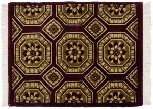2×3 Vintage Octagon Oriental Burgundy Hand-Knotted Rug