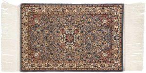2×3 Vintage Kashan Oriental Blue Hand-Knotted Rug