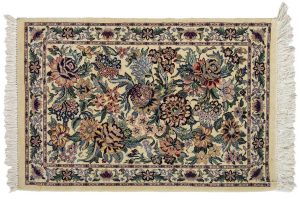 2×3 Floral Bouquet Oriental Ivory Hand-Knotted Rug