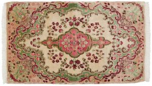 2×3 Persian Kerman Oriental Ivory Hand-Knotted Rug
